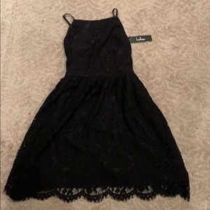 lacy black short dress